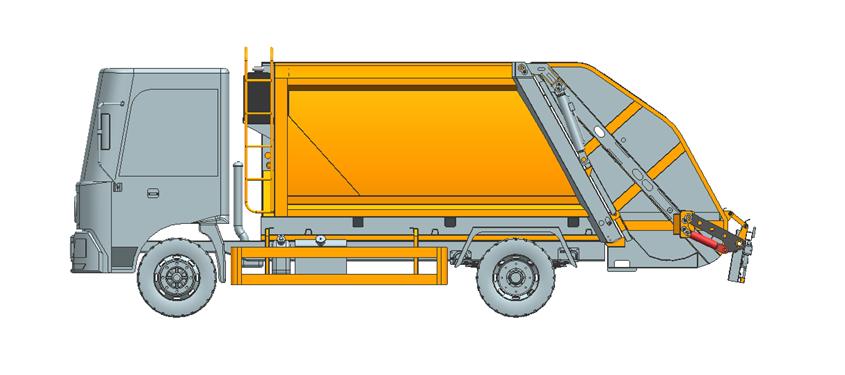 压缩式垃圾车(后装卸式垃圾车)内部结构详图