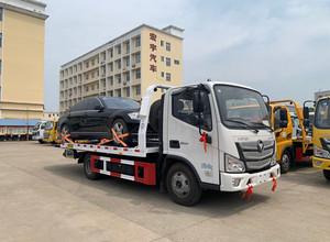 福田欧马可蓝牌一拖二清障车尾部为液压伸缩板,整车发往河南郑州市!