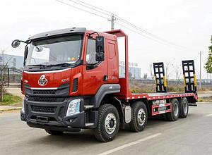 广西张总订购的柳汽乘龙H5前四后八平板挖机运输车,玉柴330马力,发车了!图片