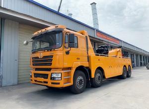江苏客户来厂自提陕汽德龙前四后八托吊联体清障车,上装30吨,准备发车。图片